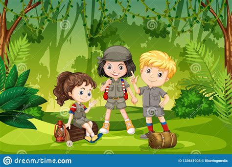 Three Scout Kids In The Jungle Stock Vector - Illustration