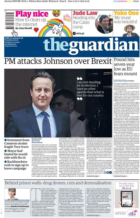 Tuesday's guardian front page: pm attacks johnson over