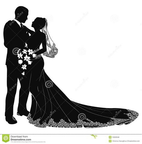Bride And Groom Silhouette Royalty Free Stock Photos